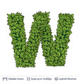 letter w symbol of green leaves vector image vector image