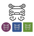 line icon of flying car in different variants vector image vector image