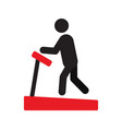 man using treadmill silhouette icon vector image vector image