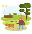 man walking with dog vector image