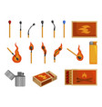matches light matchbox and lighter to create fire vector image vector image