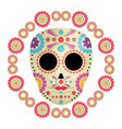 mexican skull death mask with flowers vector image vector image