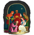 nativity scene with jesus mary joseph three kings vector image