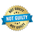 not guilty 3d gold badge with blue ribbon vector image vector image
