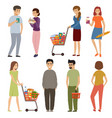 people with grocery baskets and trolleys on a vector image vector image