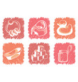 pink childrens icons vector image vector image