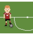 pixel art style football soccer player on green vector image vector image