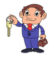 realtor offering key to the apartment 2 vector image vector image