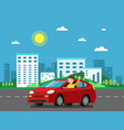red car on the road in urban landscape vector image vector image