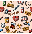 Seamless health handdrawn pattern with vector image
