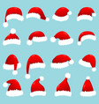 set red santa claus hats isolated on white vector image vector image