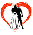 silhouettes of kissing bride and groom on the vector image