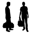 silhouettes of men with bags vector image vector image