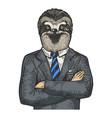sloth businessman sketch engraving vector image vector image