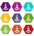 traffic cone icon set color hexahedron vector image vector image