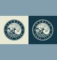 vintage monochrome marine round print vector image