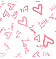 seamless romantic pattern with hearts and world vector image