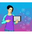 internet addicted people concept of vector image
