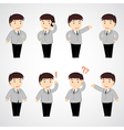 set of funny cartoon office worker in various pose vector image