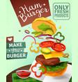 3d hamburger ad poster vector image vector image