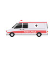 ambulance car side view - flat cartoon vector image