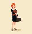 business woman with a briefcase vector image vector image