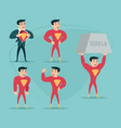 businessman turns in superhero suit under shirt vector image vector image