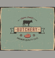 Butchery shop typography poster template in retro