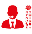 call center manager icon with valentine bonus vector image vector image
