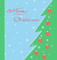 christmas tree greeting card merry vector image vector image
