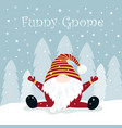 christmas winter card with funny gnome vector image vector image
