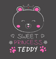 cute bear princess vector image vector image