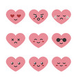 cute cartoon pink heart character emoji vector image vector image