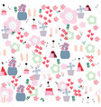 cute funny seamless pattern rabbit bunny girl in vector image vector image