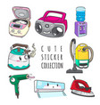 cute home appliance sticker collection vector image