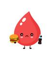 cute sad unhealthy blood drop vector image