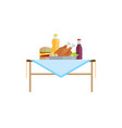 fast food and soda or juice in bottles on table vector image vector image