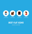 flat icon cacao set of dessert bitter cocoa and vector image vector image