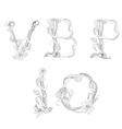 floral font letter v b p i o vector image vector image