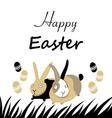 Graphic Easter greeting card with bunnies and egg vector image