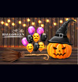 halloween card background with pumpkins witches vector image