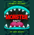 halloween party flyer with monster mouth vector image