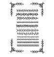 Hand drawn line borders collection vector image