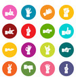 hand gesture icons many colors set vector image vector image