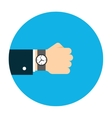 Hand with watch vector image vector image