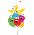 Happy Birthday Baloons With Stars vector image