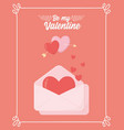 happy valentines day love hearts mail envelope vector image vector image