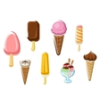 Ice cream isolated dessert icons vector image vector image