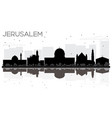 jerusalem israel city skyline black and white vector image vector image