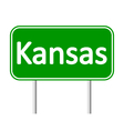 Kansas green road sign vector image
